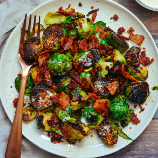 Pan Fried Brussels Sprouts with Bacon, Parmesan, and Garlic Aioli Sauce