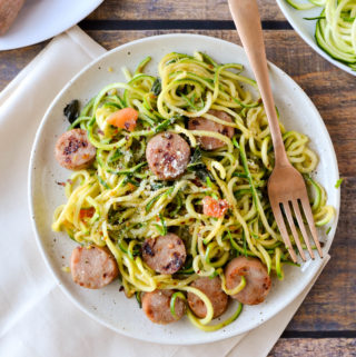 Mealthy: Zucchini Noodles with Chicken Sausage, Tomato, and Basil