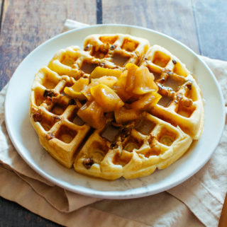 Walnut Waffles with Warm Apple Compote